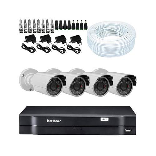 KIT DVR Intelbras + 4 Câmeras Infra 1200 Linhas + Acessórios  - Ziko Shop