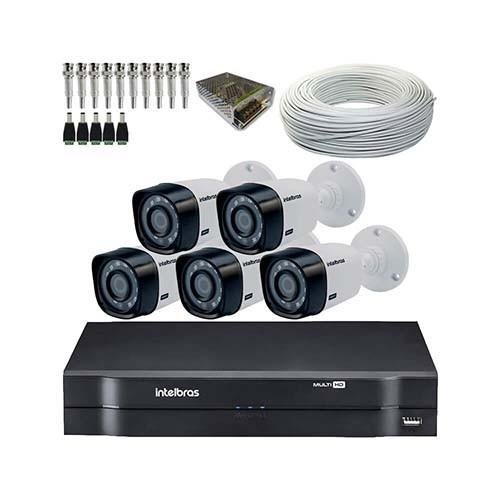 KIT DVR Intelbras MHDX + 5 Câmeras VHD 1120 B G4 Resolução HD + Acessórios  - Ziko Shop