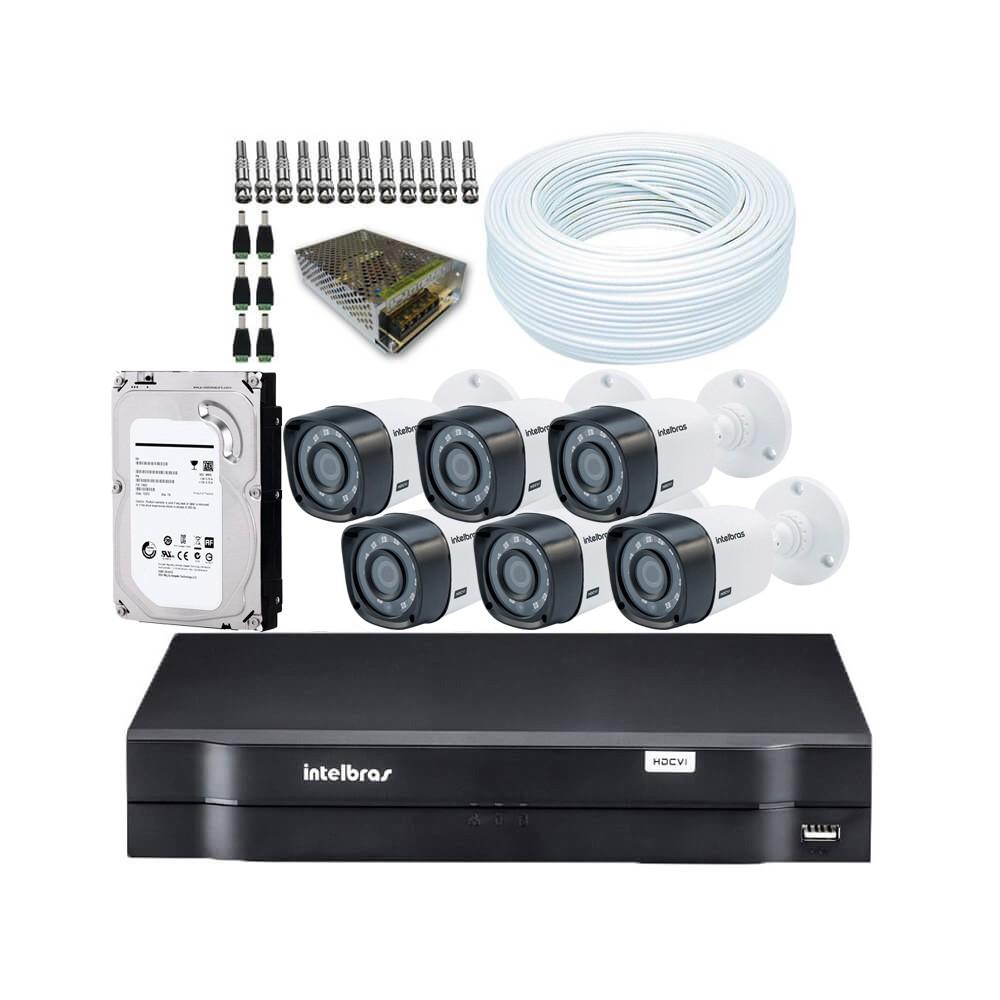 KIT DVR Intelbras + 6 Câmeras VHD 1010 B G4 + HD + Acessórios  - Ziko Shop