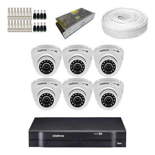 KIT DVR Intelbras MHDX + 6 Câmeras VHD 3120 D G4 + Acessórios (Instale você mesmo)  - Ziko Shop