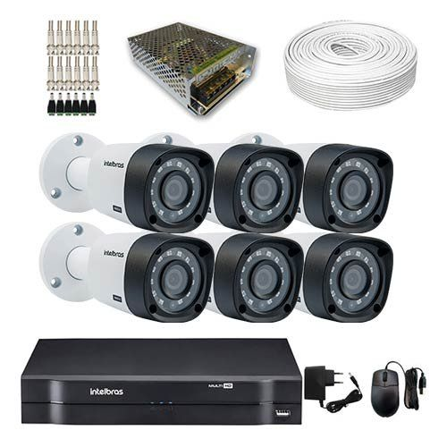 KIT DVR Intelbras MHDX + 6 Câmeras VHD 3130 B G4 + Acessórios (Instale você mesmo)  - Ziko Shop