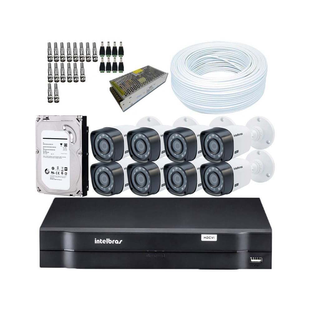 KIT DVR Intelbras MHDX + 8 Câmeras VHD 1120 B G4 + HD + Acessórios. (Instale você mesmo)  - Ziko Shop