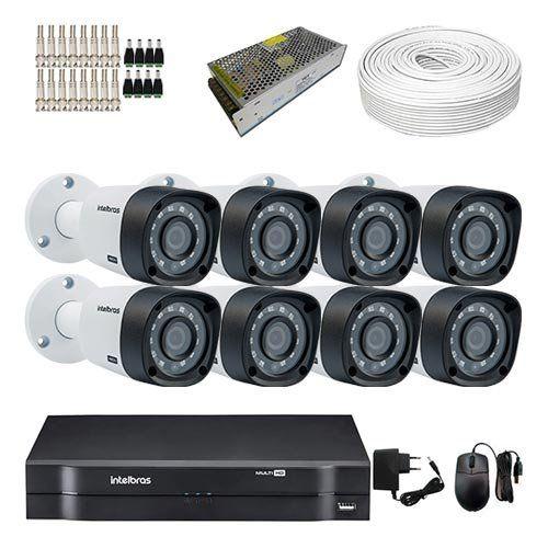 KIT DVR Intelbras MHDX + 8 Câmeras VHD 3130 B G4 + Acessórios (Instale você mesmo)  - Ziko Shop