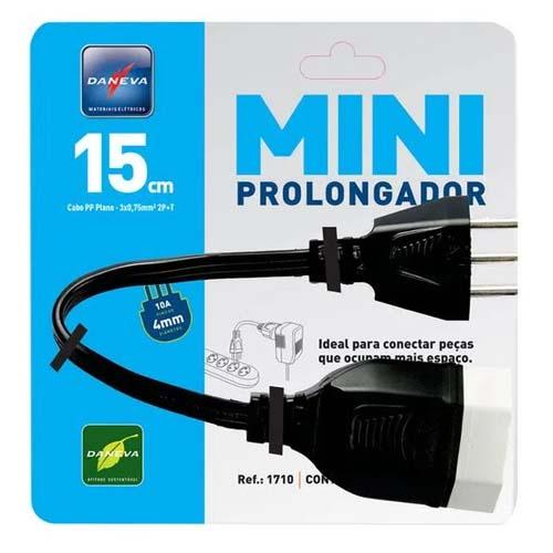 Mini Cd Prolongador Pp 3X0,15M 2P+T Pt - Daneva  - Ziko Shop