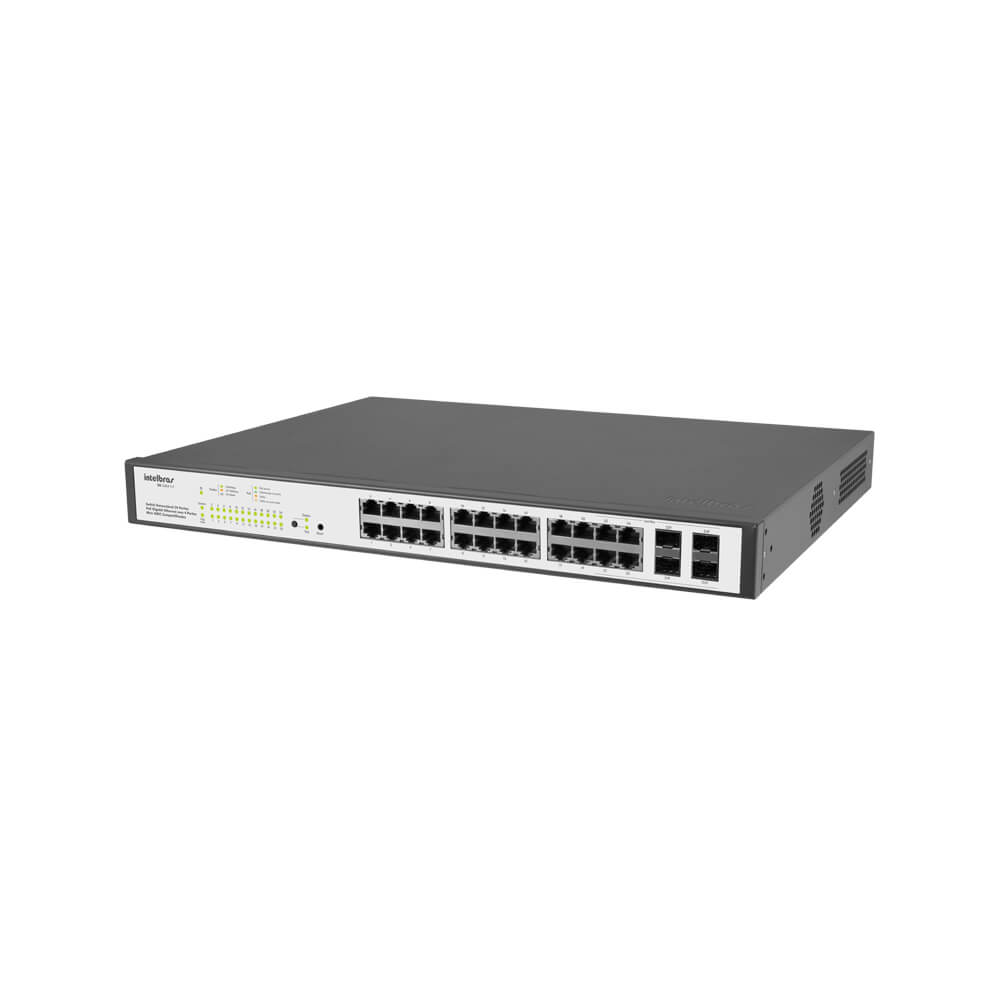 Switch Gerenciável - Intelbras - 24 portas PoE Gigabit Ethernet com 4 Mini-GBIC compartilhadas - SG 2404 PoE  - Ziko Shop
