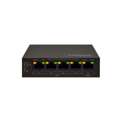 Switch Intelbras SF 500 PoE 5 portas Fast com 4 portas PoE  - Ziko Shop