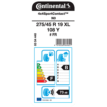 Kit de 2 Pneus 255/55R19 Conti4x4Contact 111 V Continental
