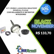 Kit Câmbio Lavadora Brastemp Mondial/Clean Com Rolamento e Retentor W10250960