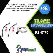 Kit Sensor Temperatura 25mm 2,7 Com Fúsivel Termico Refrigerador Brastemp/Consul Original W10531315