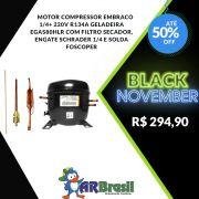 Motor Compressor Embraco 1/4+ 220V R134A Geladeira EGAS80HLR Com Filtro Secador, Engate Schrader 1/4 e Solda Foscoper