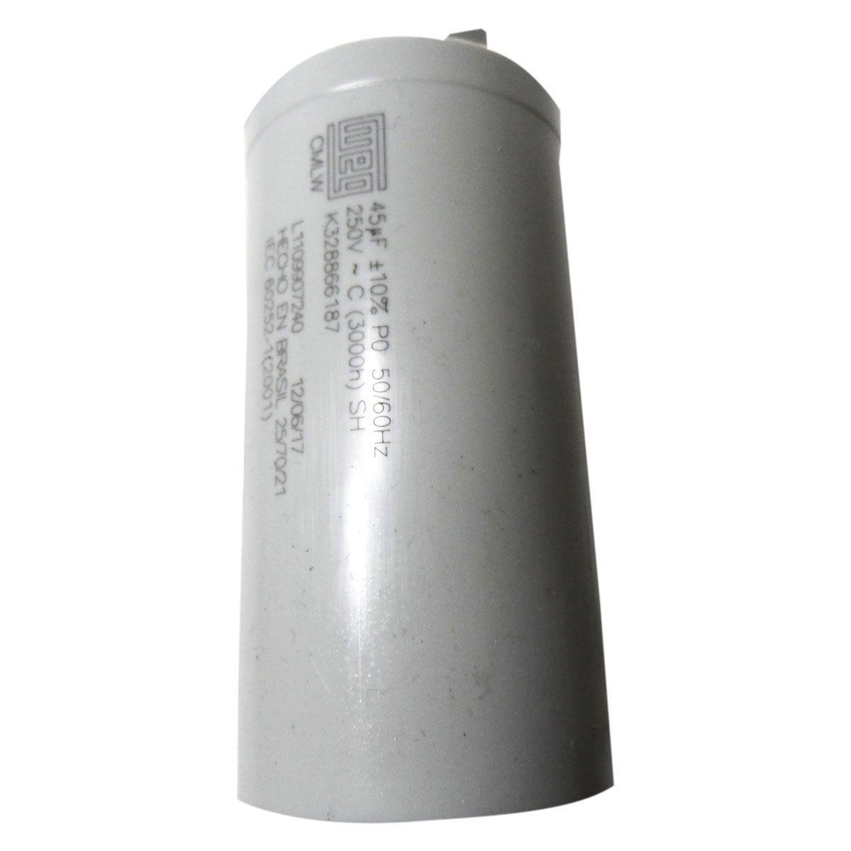 Capacitor 45MF Lavadora Brastemp/Consul Eletrônica/Mondial 326066187