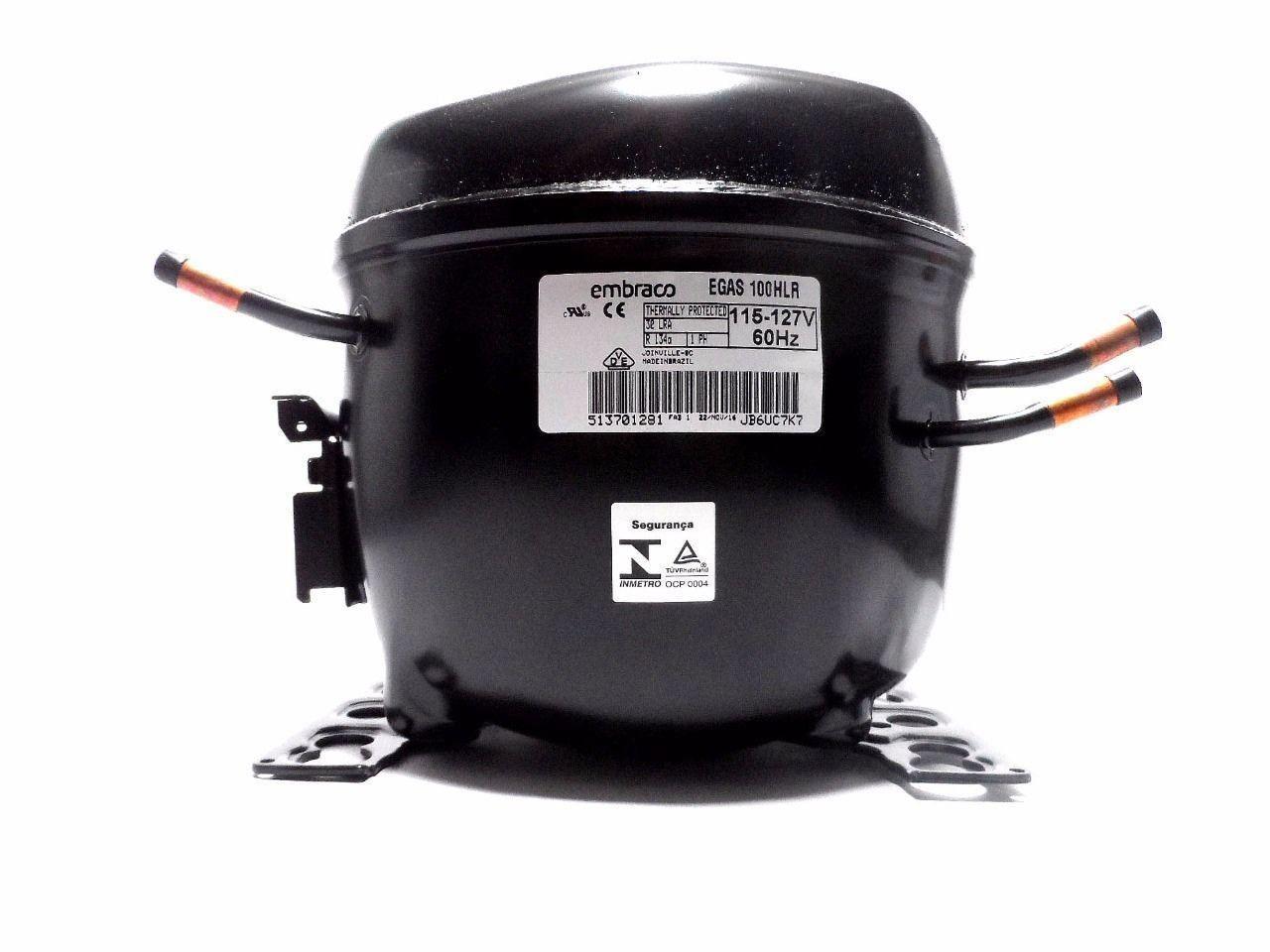 Motor Compressor Embraco 1/3 127V 134A Geladeira EGAS100HLR W10393814