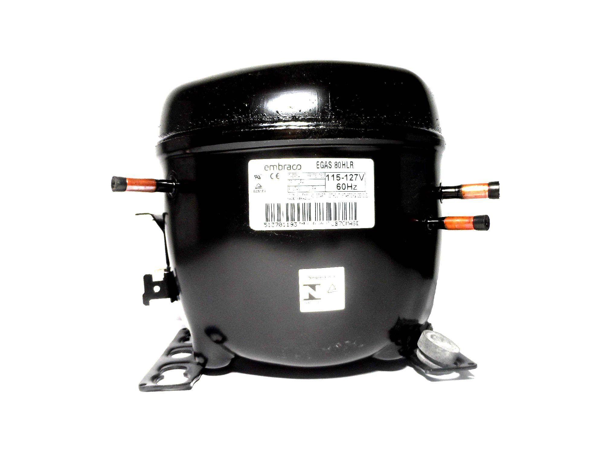 Motor Compressor Embraco 1/4 127V R134A Geladeira EGAS80HLR