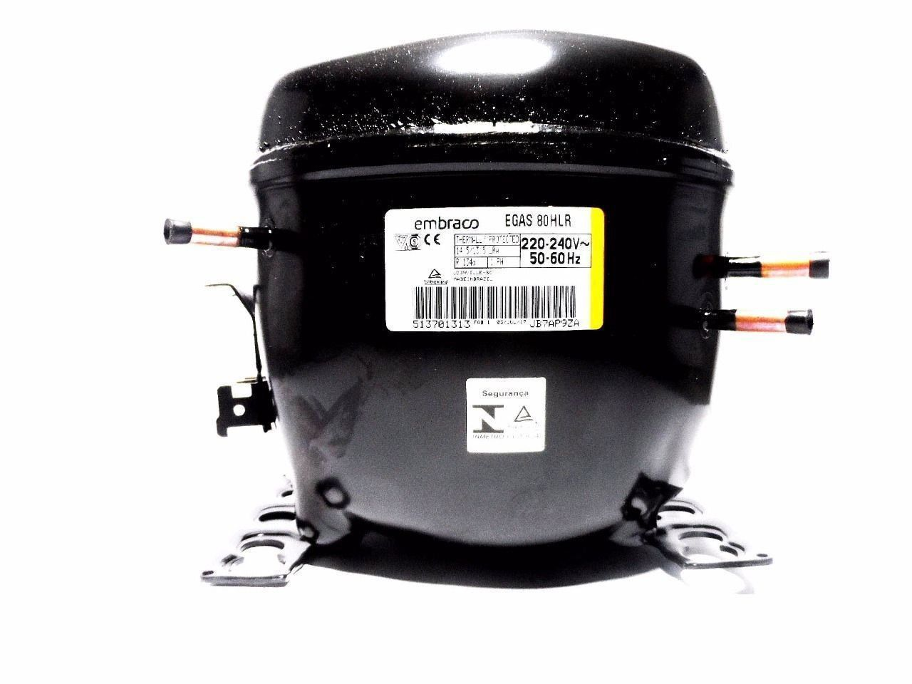 Motor Compressor Embraco 1/4+ 220V R134A Geladeira EGAS80HLR W10393812
