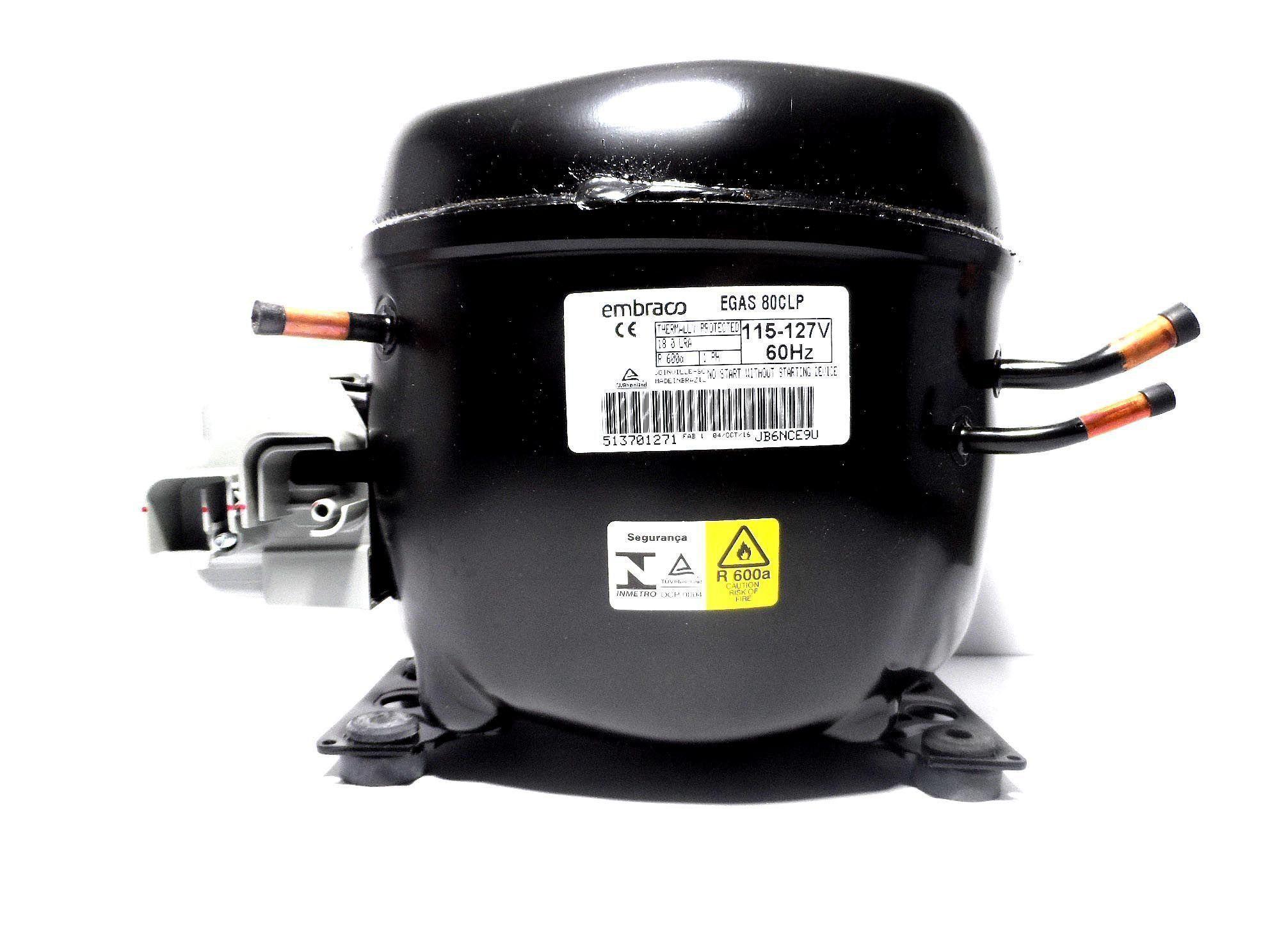 Motor Compressor Embraco 1/4 127V R600 Geladeira EGAS80CLP W10388219