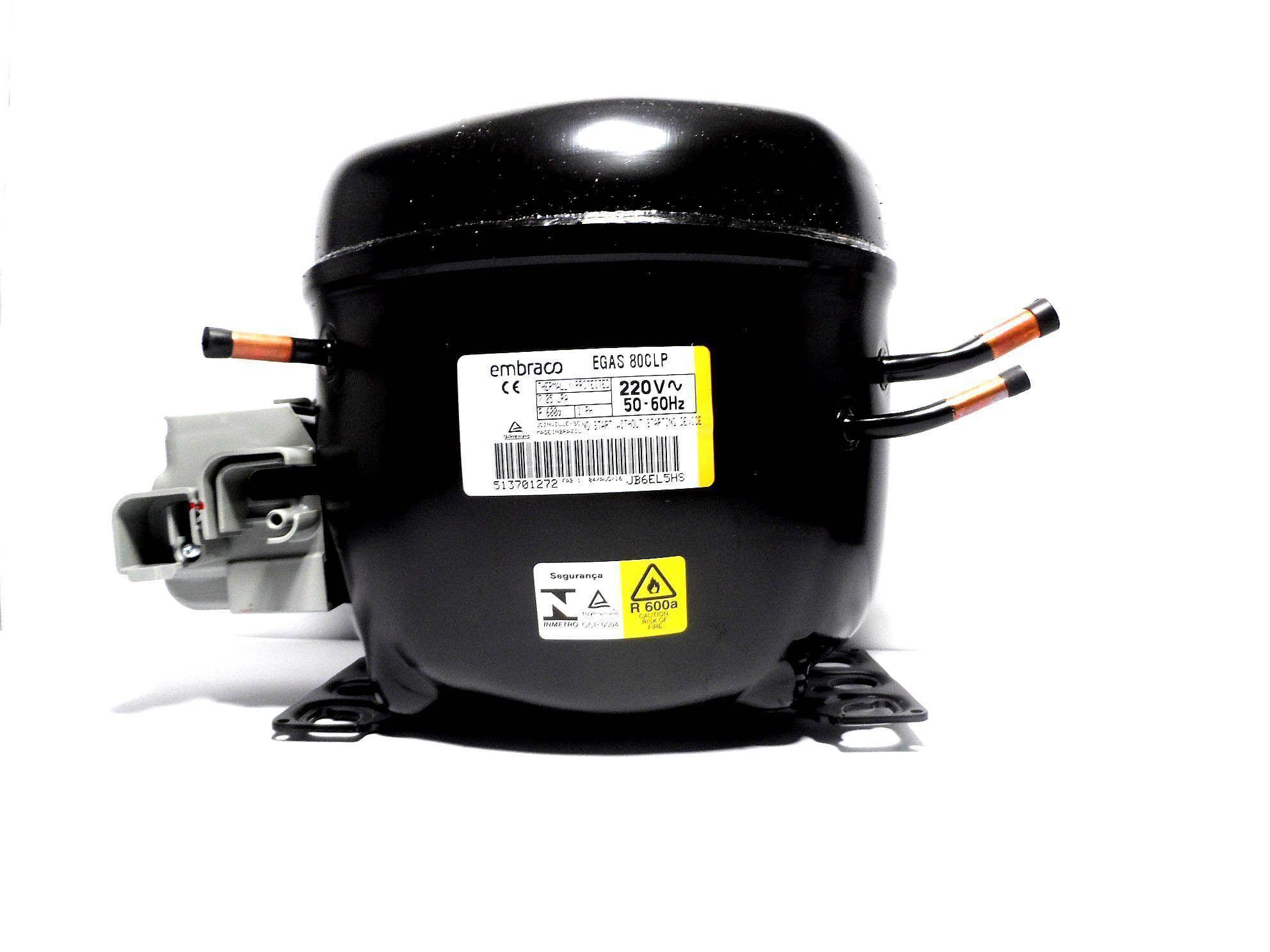 Motor Compressor Embraco 1/4 220V R600 Geladeira EGAS80CLP W10388222