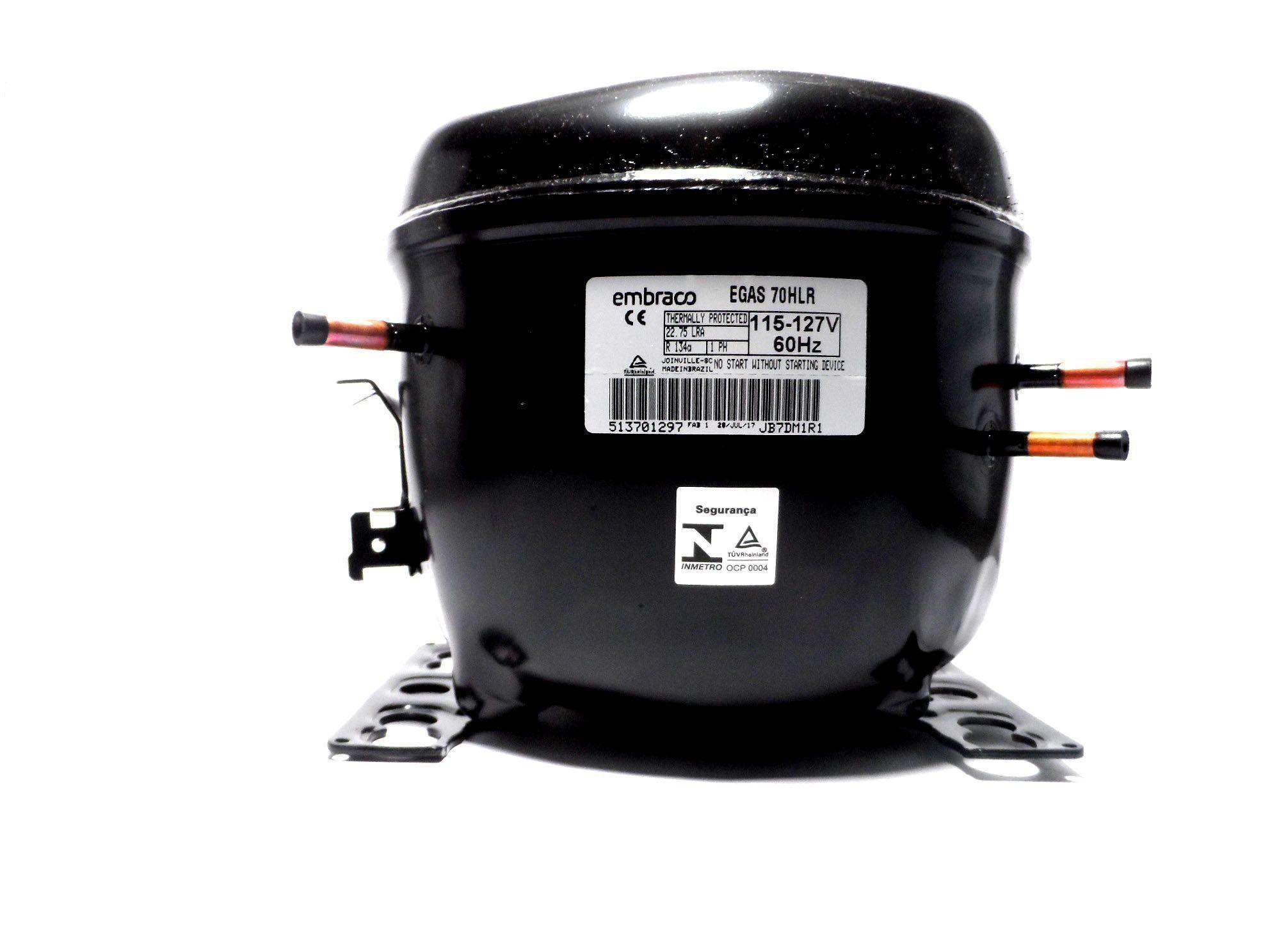 Motor Compressor Embraco 1/5+ 127V R134 Geladeira EGAS70HLR W10330848
