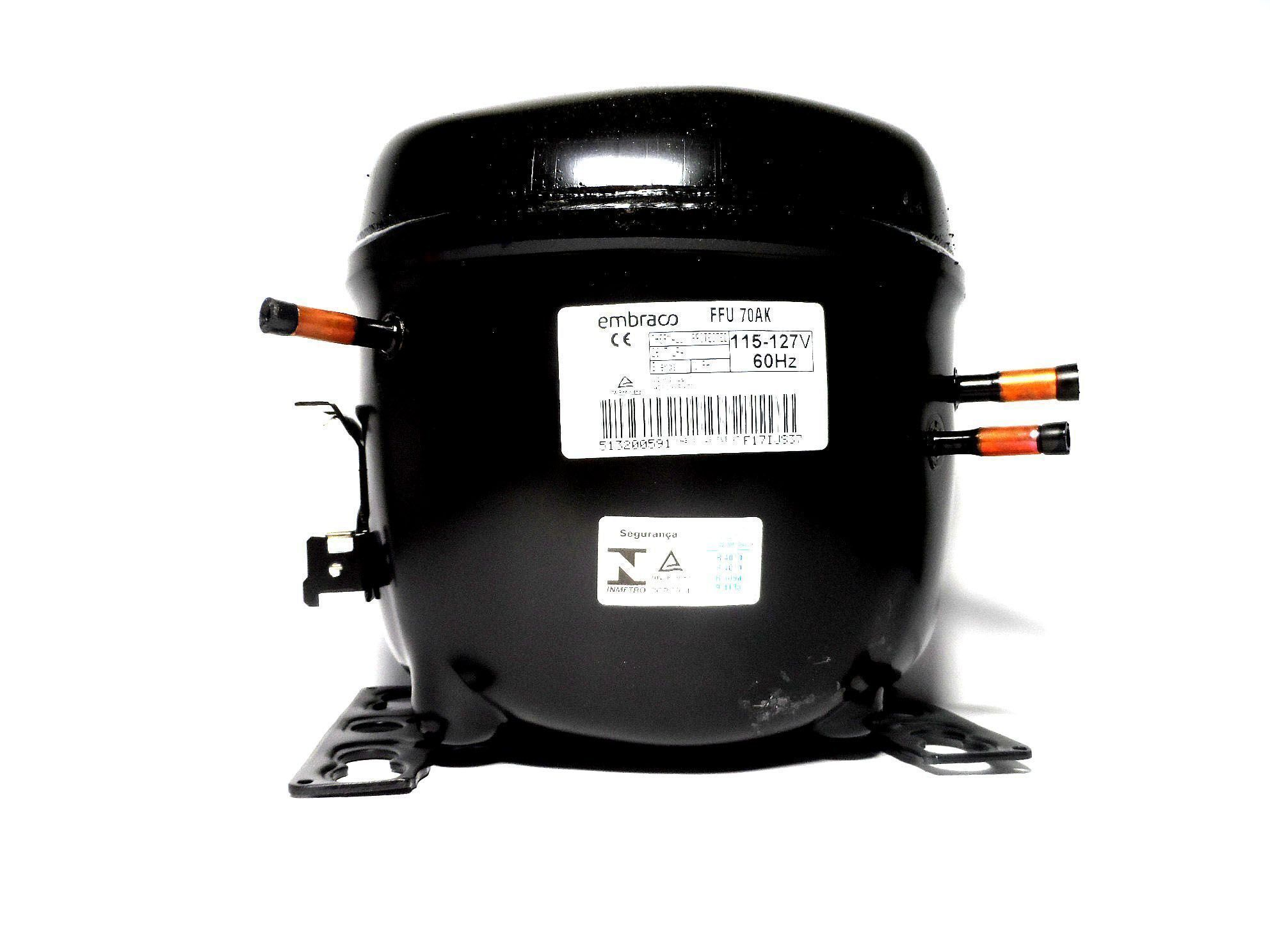 Motor Compressor Embraco 1/5+ 220V R134A Geladeira EGAS70HLR W10393847