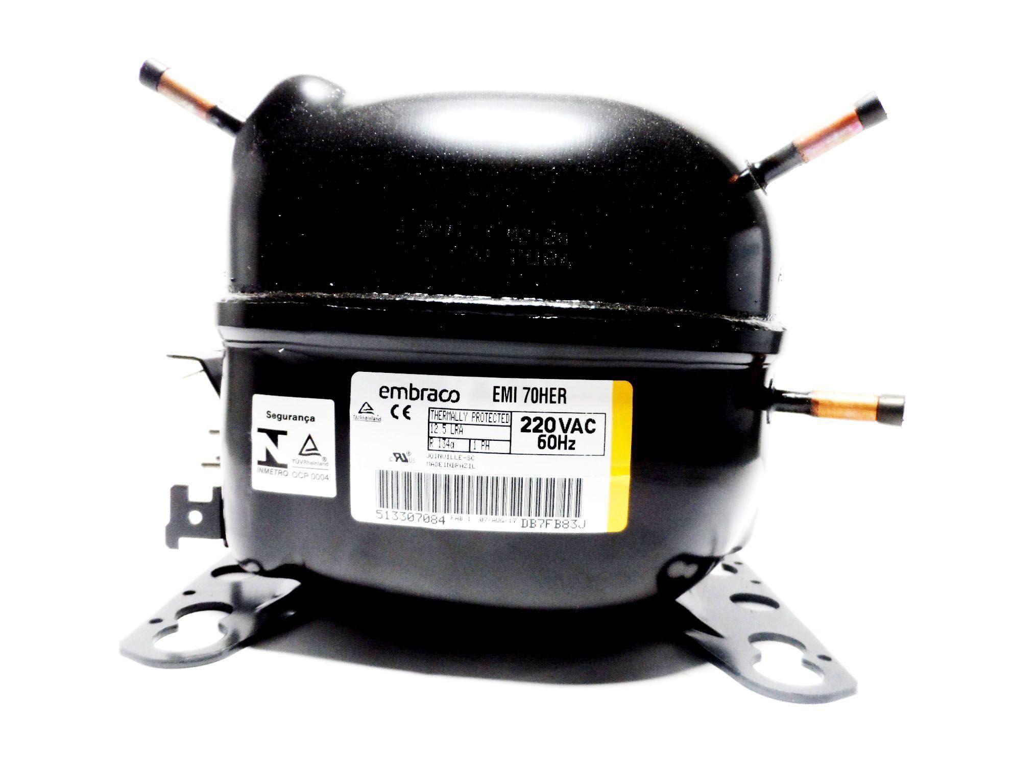 Motor Compressor Embraco 1/5 220V R134A Geladeira EMI70HER W10393810
