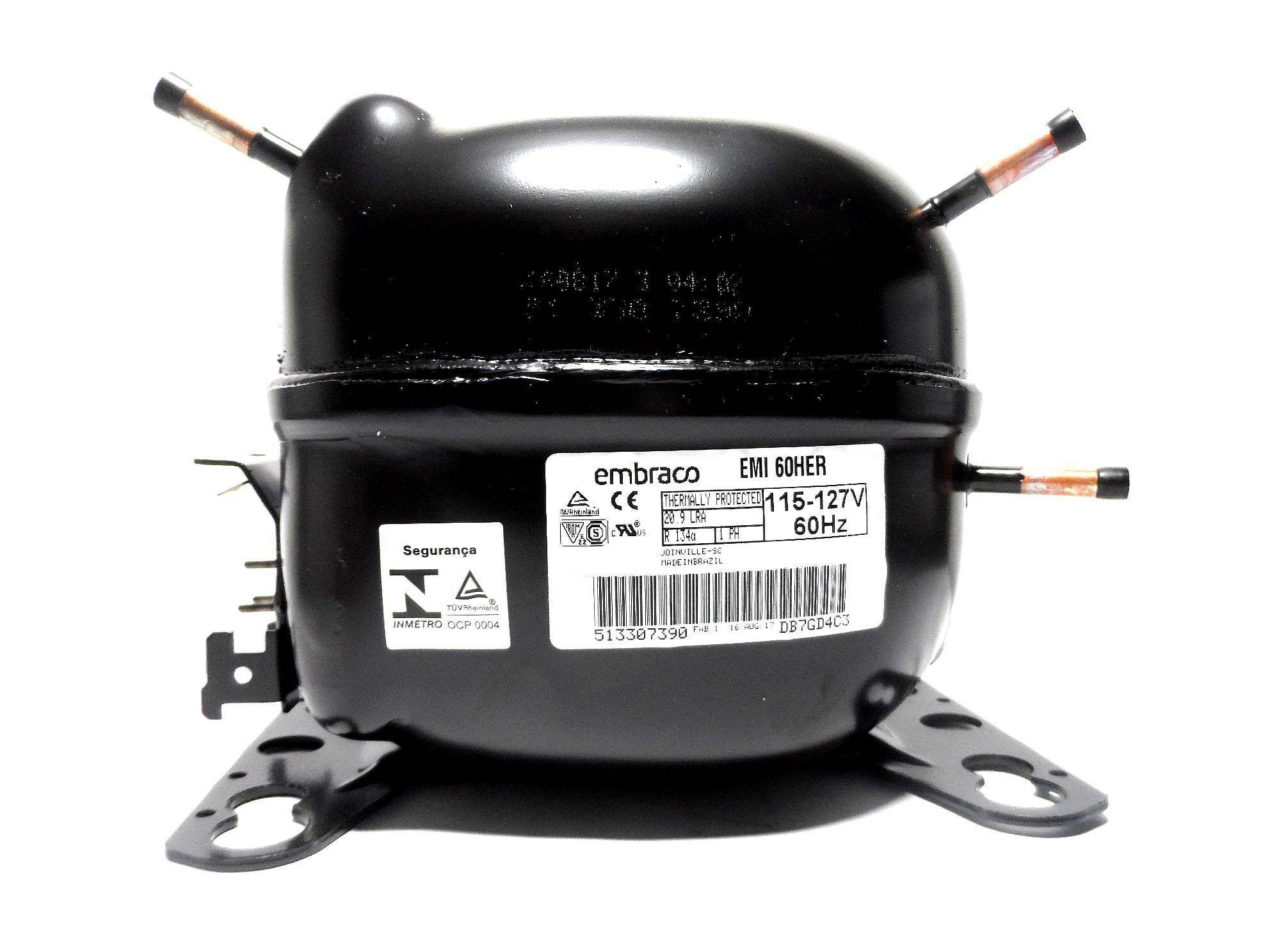 Motor Compressor Embraco 1/6 127V R134A Geladeira EMI60HER W10393808