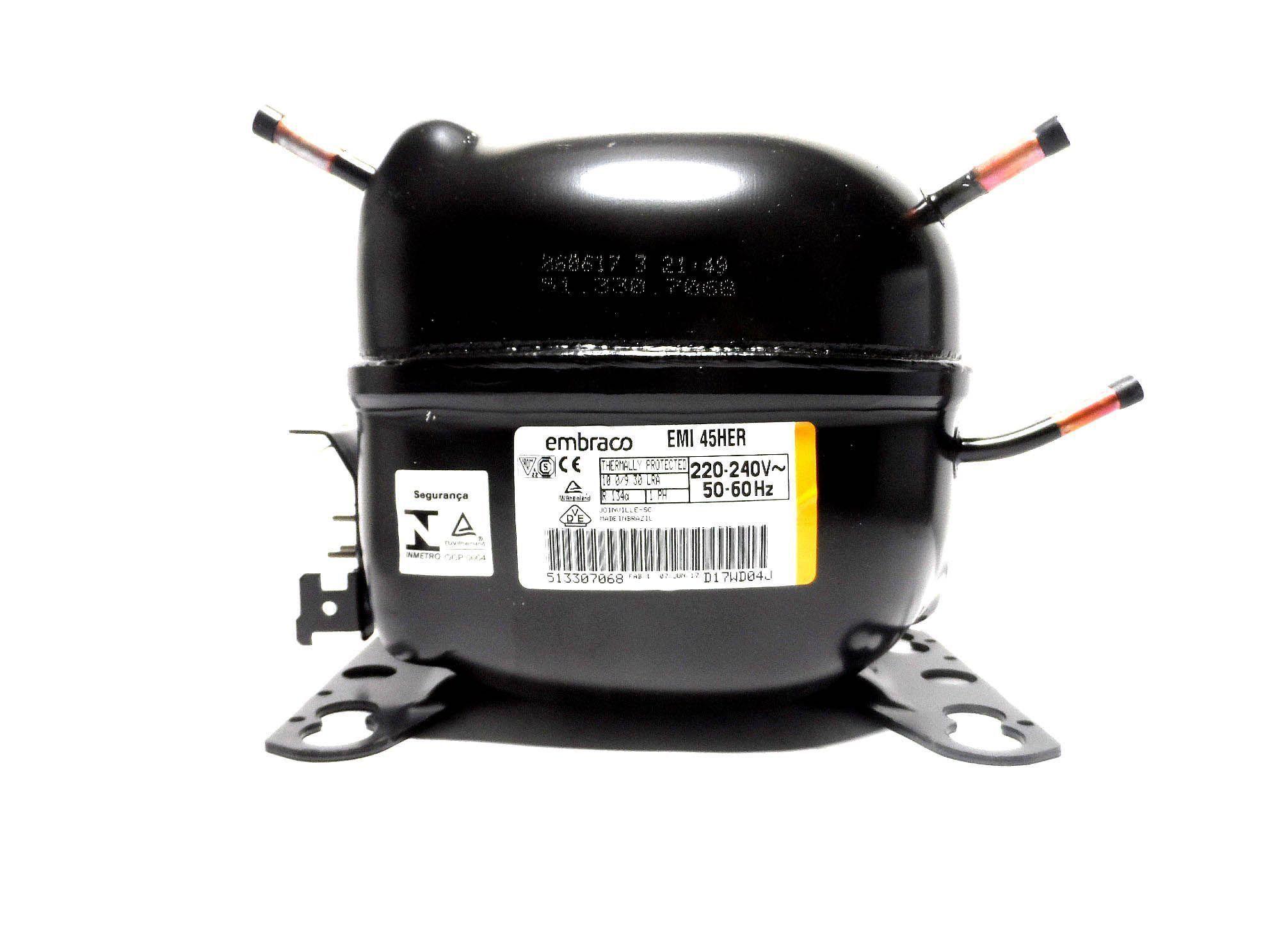 Motor Compressor Embraco 1/8 220V R134A Geladeira  EMI45HER W10393804