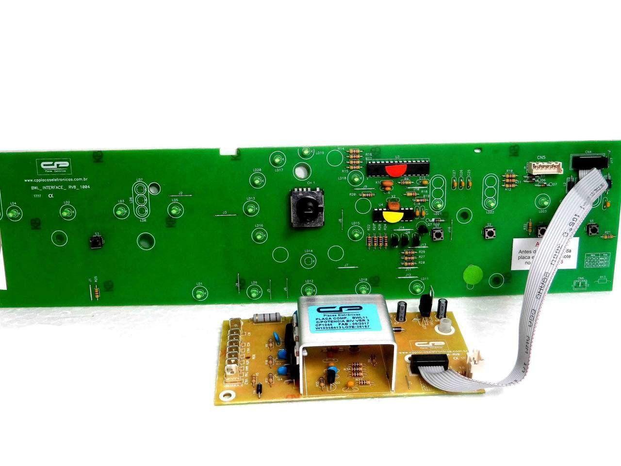 Placa Eletrônica Potência e Interface Lavadora Brastemp BWL11 BWB 11 Versão 3 Com Sensor C.P W10356413