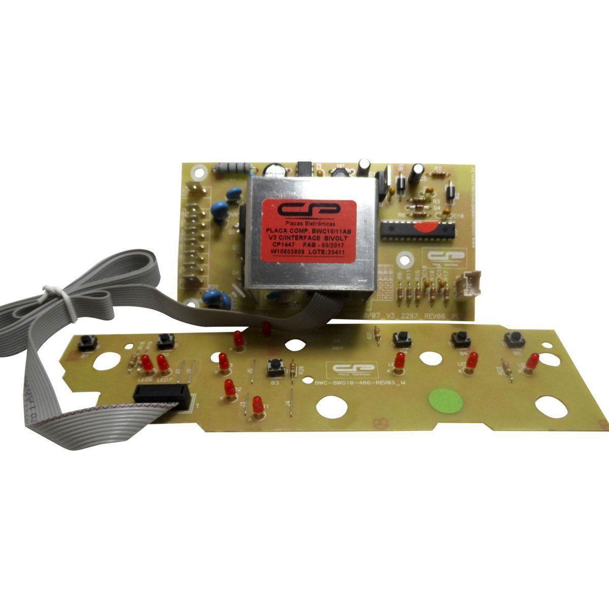 Placa Eletrônica Potência e Interface Lavadora Brastemp BWC10AB BWC11AB Versão 3 CP 1447
