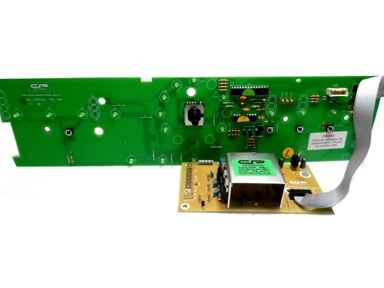 Placa eletrônica Potência e Interface Lavadora Brastemp Bwl11 Versão 2 - CP1045