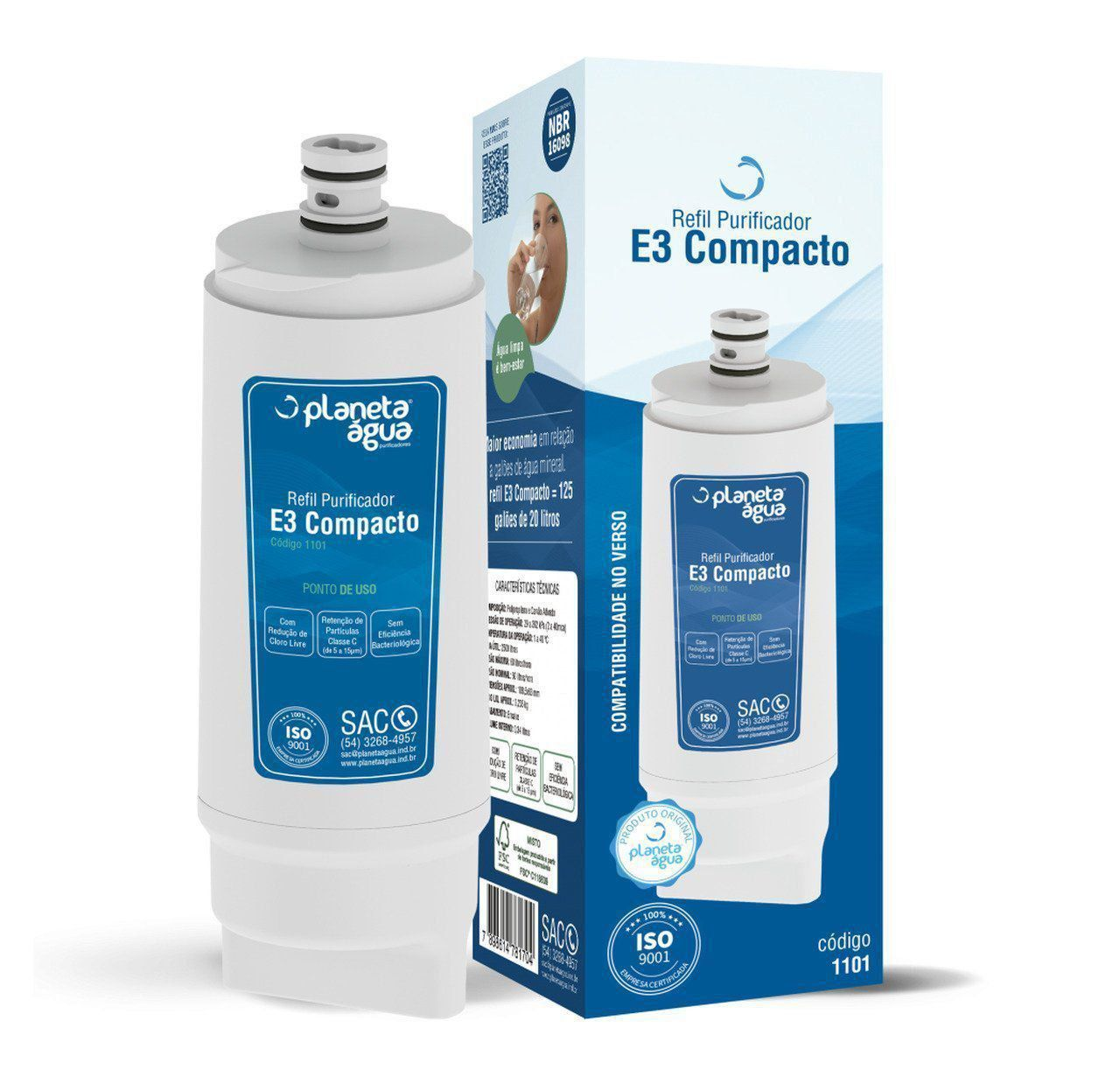 Refil Filtro Planeta Água E3 Compacto para Purificador de Água IBBL Avanti e MIO - Compatível