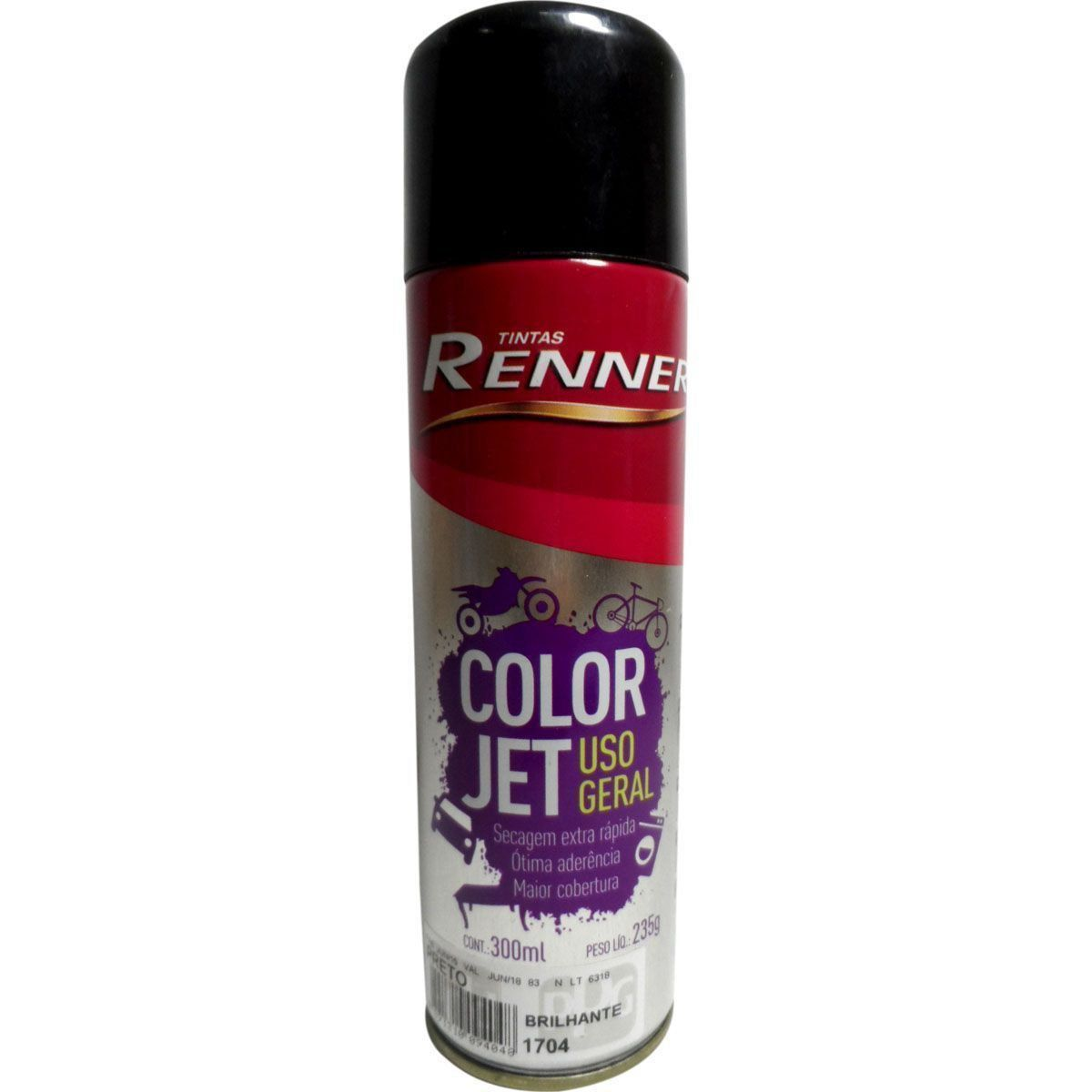 SPRAY RENNER PRETO BRILHANTE LATA 300 ML