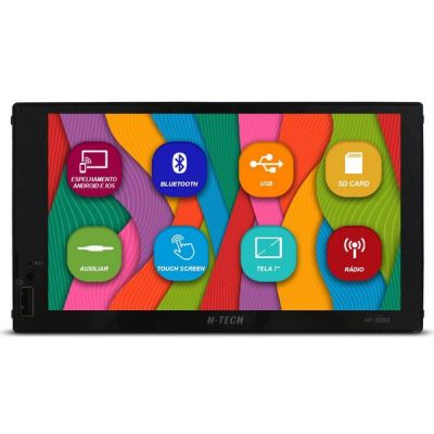 Mp5 Player 3020 H-tech 2 Din 7 Pol Espelhamento Android Ios