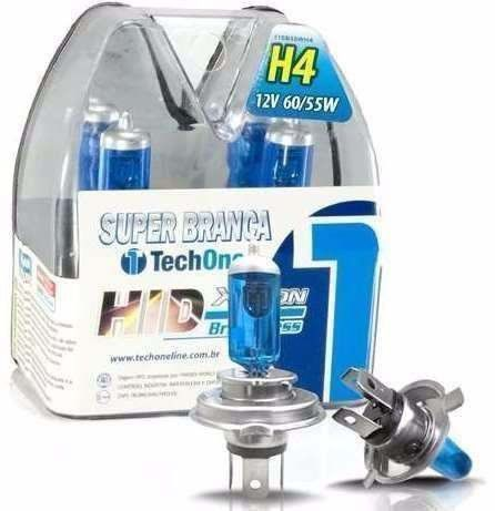 Kit Lâmpada Super Branca Tech One H4 - 8.500k Efeito Xenon