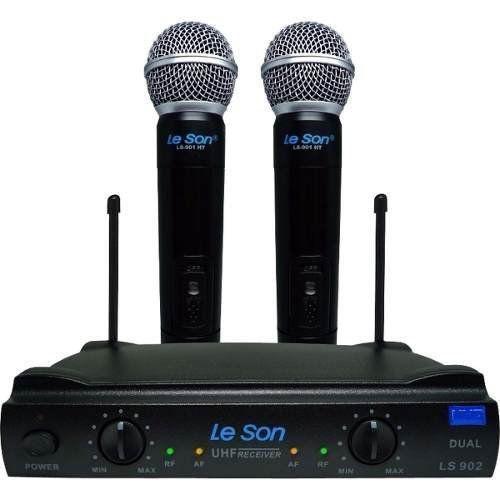 Microfone Sem Fio Duplo Uhf - Leson Ls 902ht/ht + Maleta