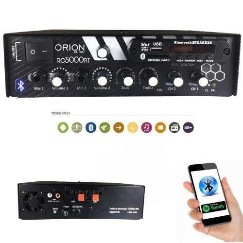 Amplificador Rc5000 300w Som Ambiente Orion Bluetooth