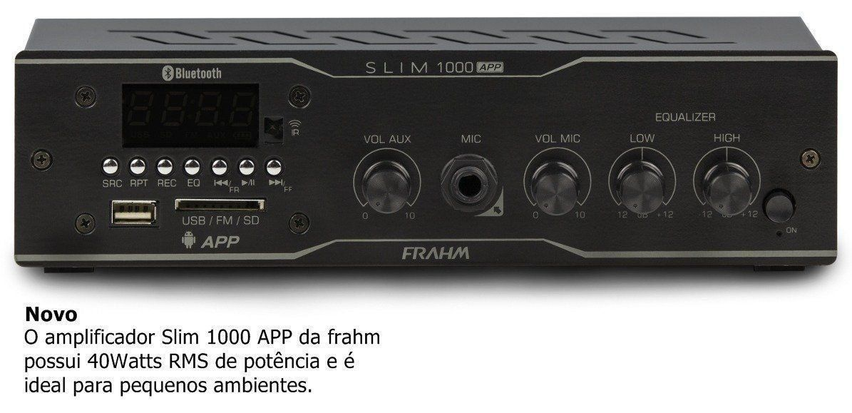 Amplificador Frahm Slim 1000 App Receiver Para Som Ambiente