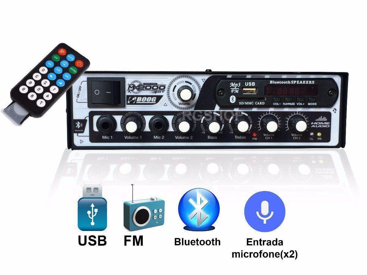 Amplificador Receiver Boog Usb Bluetooth Som Ambiente 300 W MX 2000