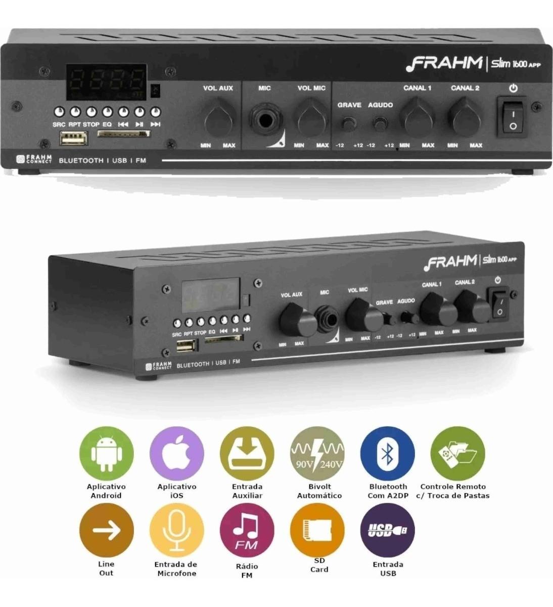 Amplificador Receiver Frahm Slim 1600 App Multi Channel
