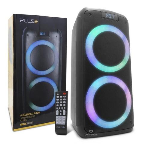 Caixa De Som Pulsebox Efeito Led Bluetooth Aux/ Usb 1000w