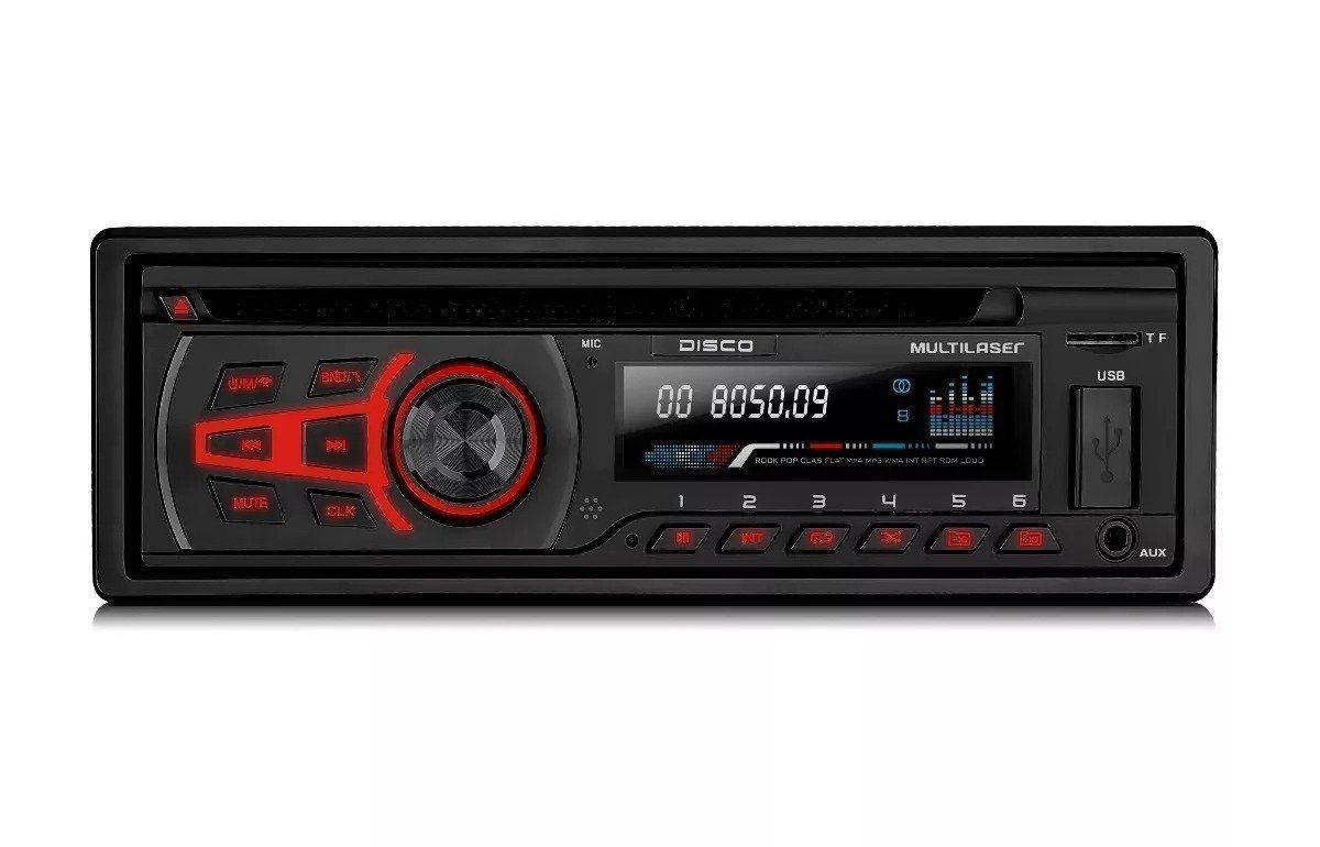 Cd Mp3 Player Automotivo Multilaser Disco P3322 Usb Aux