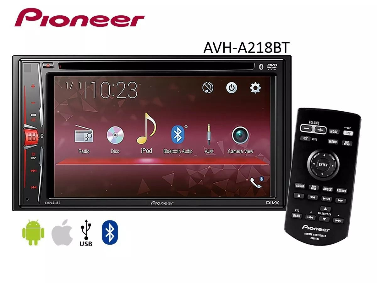 Dvd Player 2 din Central Multimidia Pioneer AVH- A 218 Bt 6,2 Polegadas