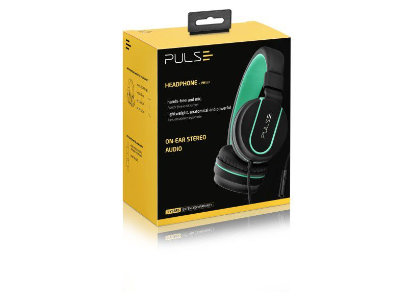 Headphone Pulse On Ear Stereo Preto/verde Ph159 Multilaser