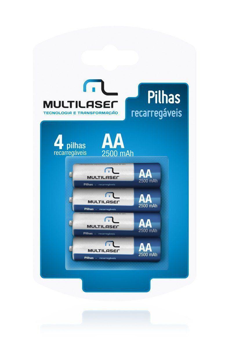 Kit 4 Pilhas 3a Recarregáveis Aaa Palito 1000mah Multilaser