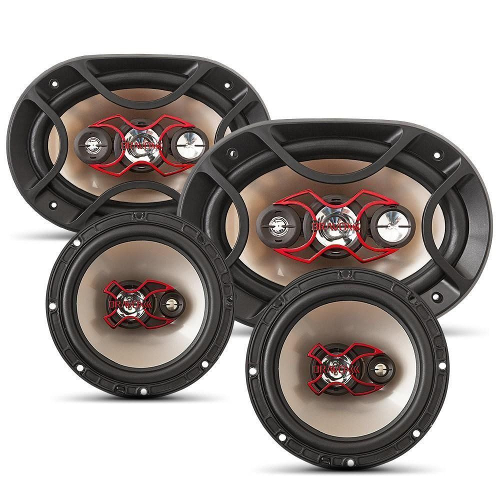 Kit Alto-falantes Fácil X 2 6x9 + 2 Triaxial 6 Polegadas 240 Wrms Bravox