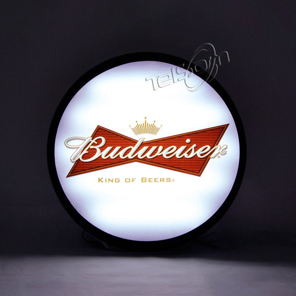 Luminoso Luminaria Parede Bar Com Led Budweiser Branca