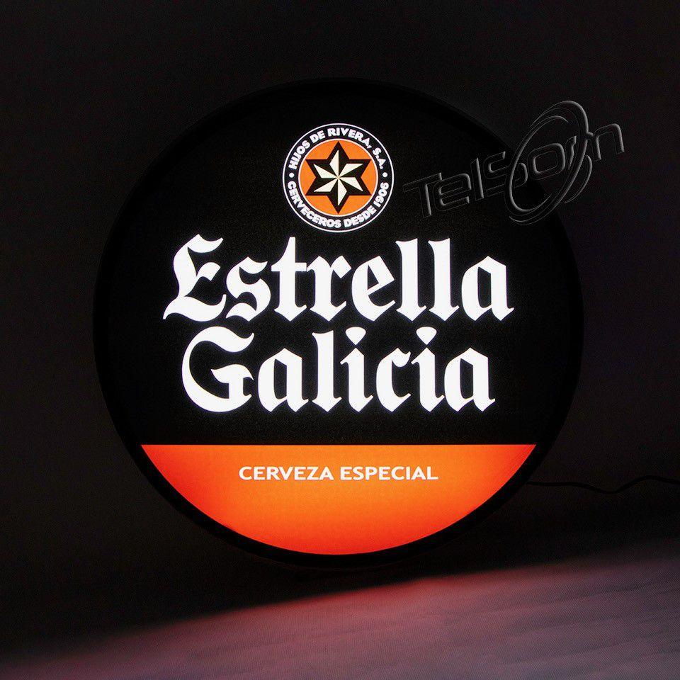 Luminoso Luminaria Parede Bar Com Led Estrella Galicia