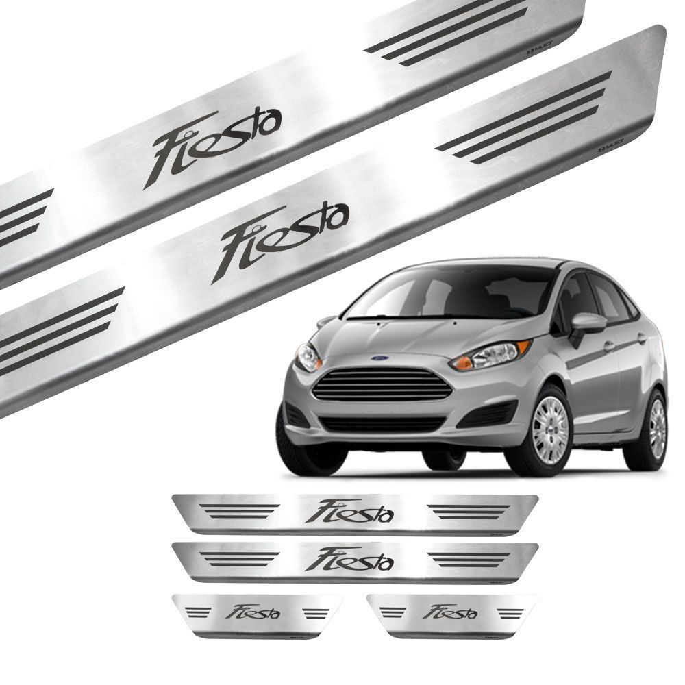 Soleira Aço Inox Escovado Gravada a Laser New Fiesta Hatch 14/18