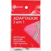 ADAPTADOR 3 EM 1 USB M P/MIC USB USB-ALL 23580 - VINIK