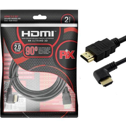 CABO HDMI 10M 2.0 4K 19 PINOS C/ PLUG 90 GRAUS - PIX