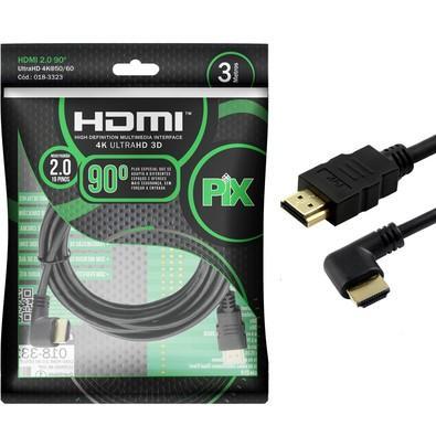 CABO HDMI 3M 2.0 4K 19 PINOS C/ PLUG 90 GRAUS 018-3323 - PIX