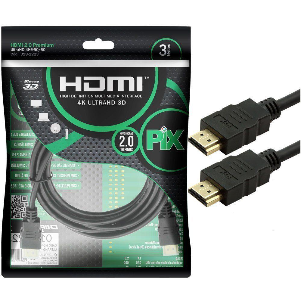CABO HDMI 3M 2.0 4K ULTRAHD HDR 19 PINOS 018-2223 - PIX  - GAÚCHA DISTRIBUIDORA DE INFORMÁTICA